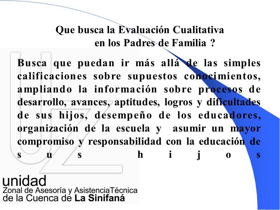 Que busca la Evaluación Cualitativa en los Padres de Familia .