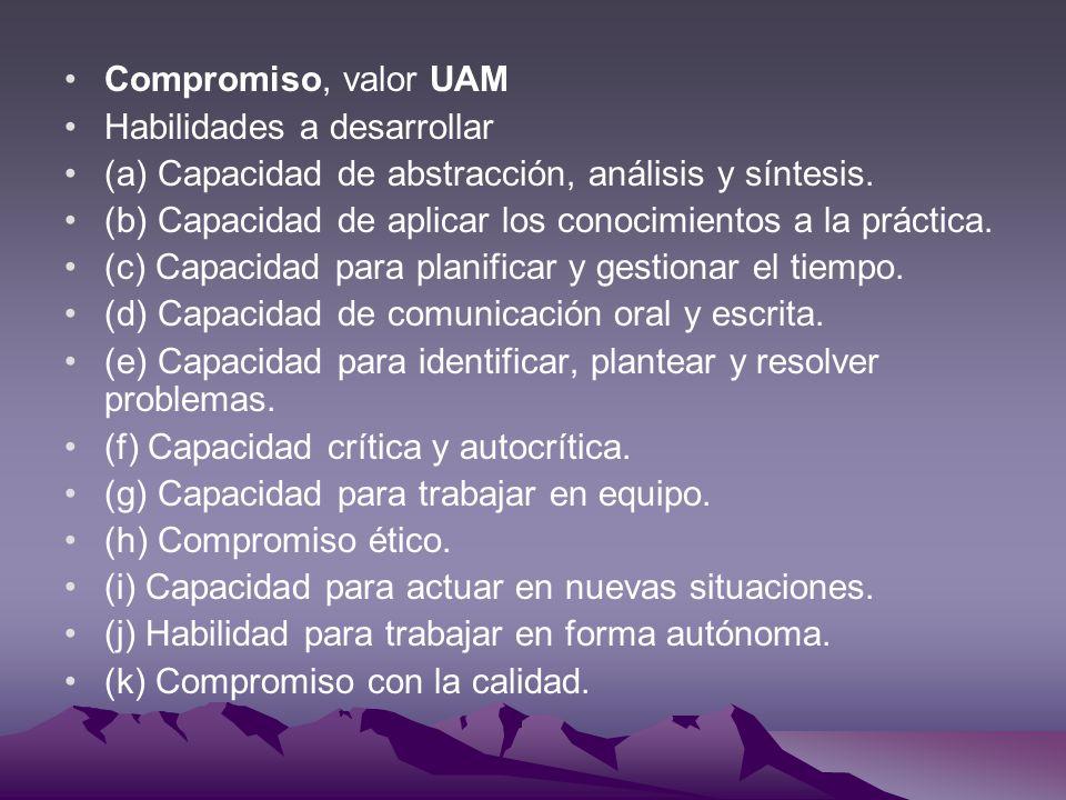 Compromiso, valor UAM Habilidades a desarrollar (a) Capacidad de abstracción, análisis y síntesis. (b) Capacidad de aplicar los conocimientos a la prá