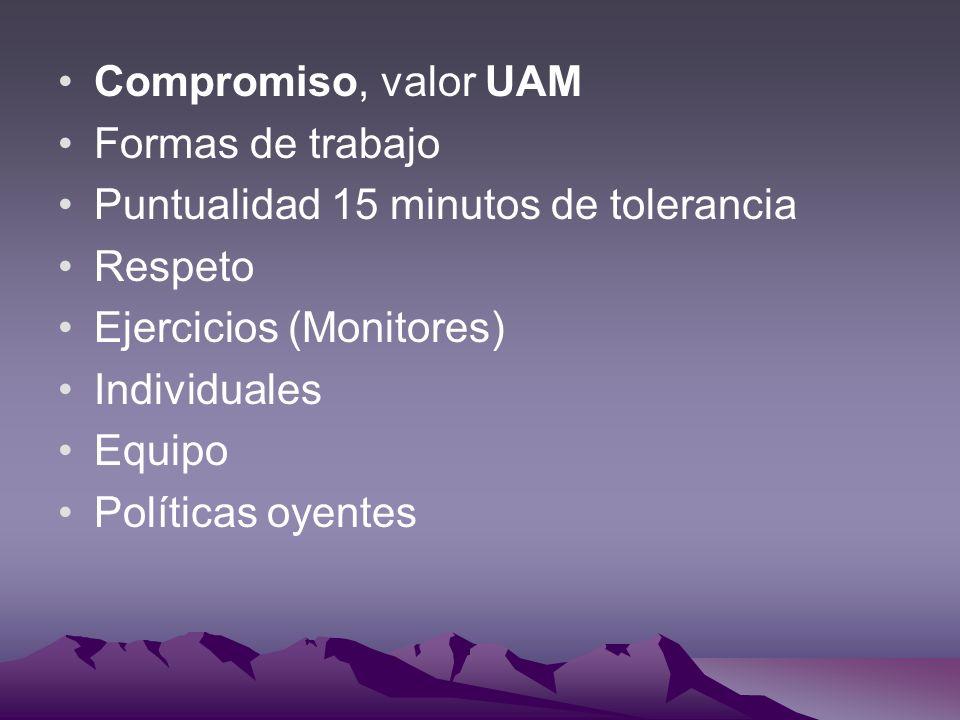 Compromiso, valor UAM Formas de trabajo Puntualidad 15 minutos de tolerancia Respeto Ejercicios (Monitores) Individuales Equipo Políticas oyentes