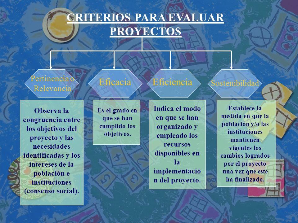 CRITERIOS PARA EVALUAR PROYECTOS Pertinencia o Relevancia EficaciaEficiencia Sostenibilidad Observa la congruencia entre los objetivos del proyecto y