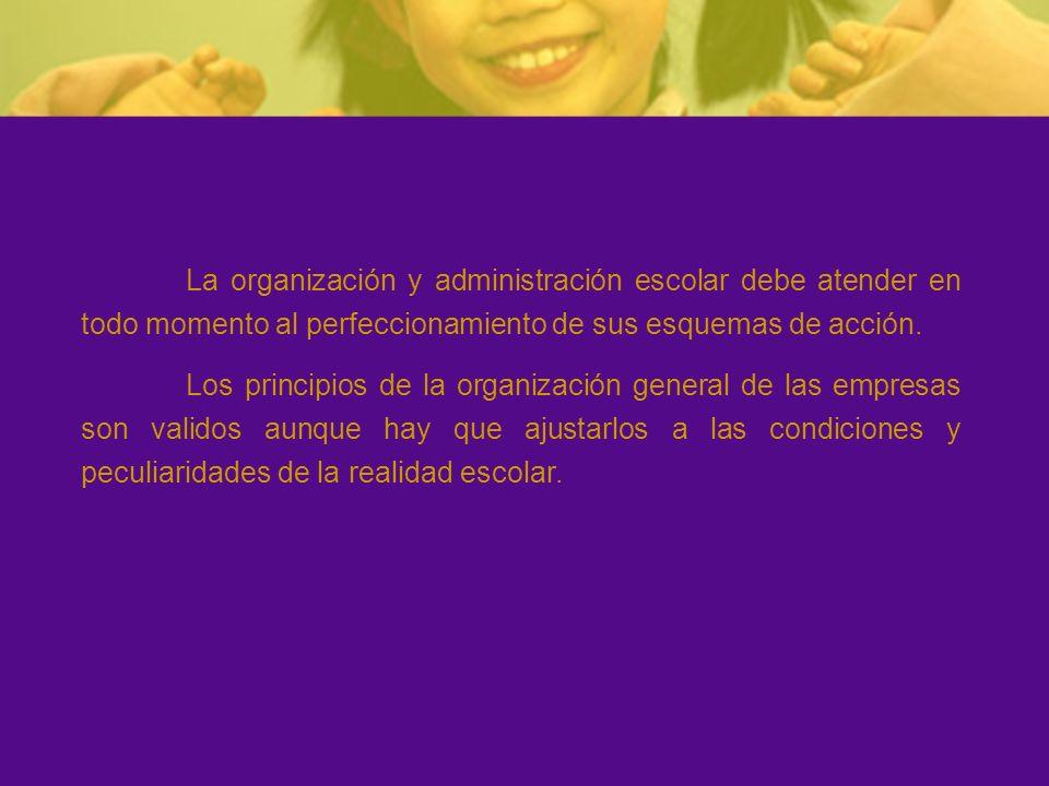 Esquema organizativo de la realidad escolar: FINES ESTRUCTURA ADMINISTRACIÓN Condicionamiento Planificación Realización Evaluación Comunicación Coordinación