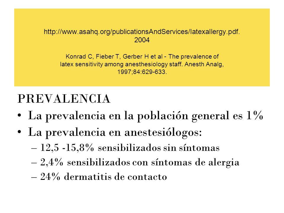 http://www.asahq.org/publicationsAndServices/latexallergy.pdf. 2004 Konrad C, Fieber T, Gerber H et al - The prevalence of latex sensitivity among ane