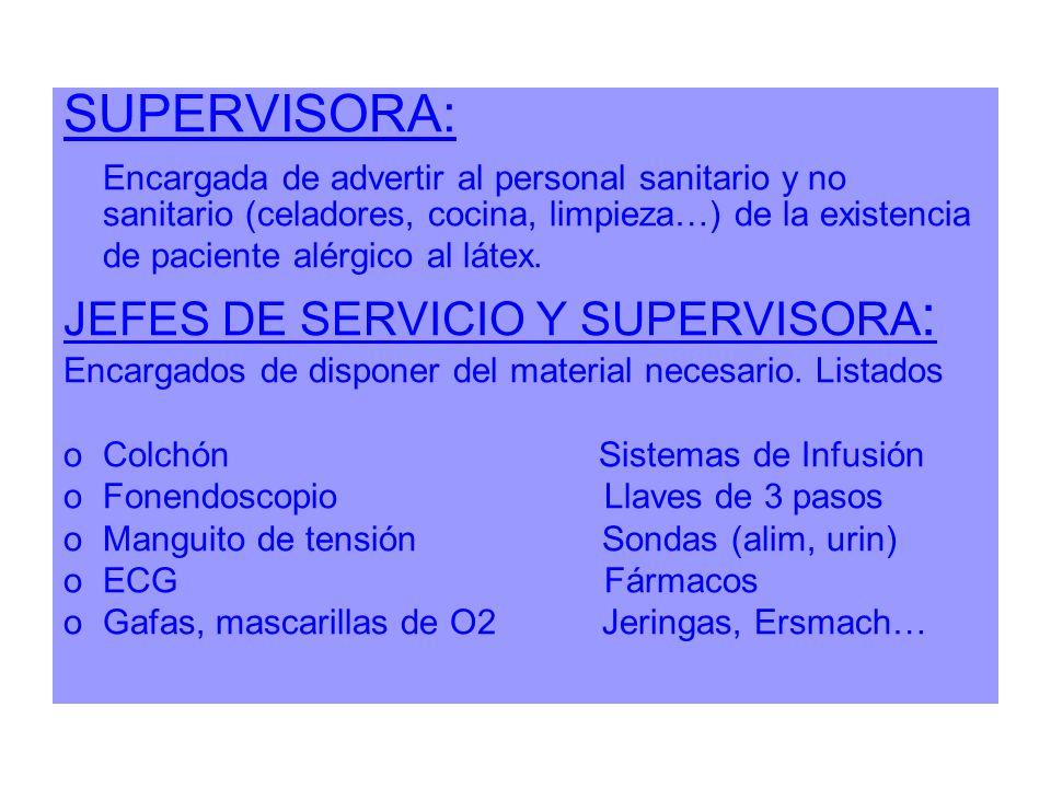 SUPERVISORA: Encargada de advertir al personal sanitario y no sanitario (celadores, cocina, limpieza…) de la existencia de paciente alérgico al látex.