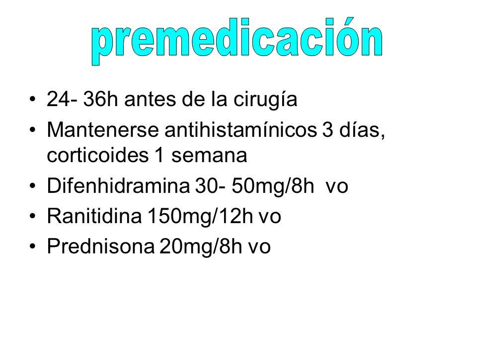 24- 36h antes de la cirugía Mantenerse antihistamínicos 3 días, corticoides 1 semana Difenhidramina 30- 50mg/8h vo Ranitidina 150mg/12h vo Prednisona