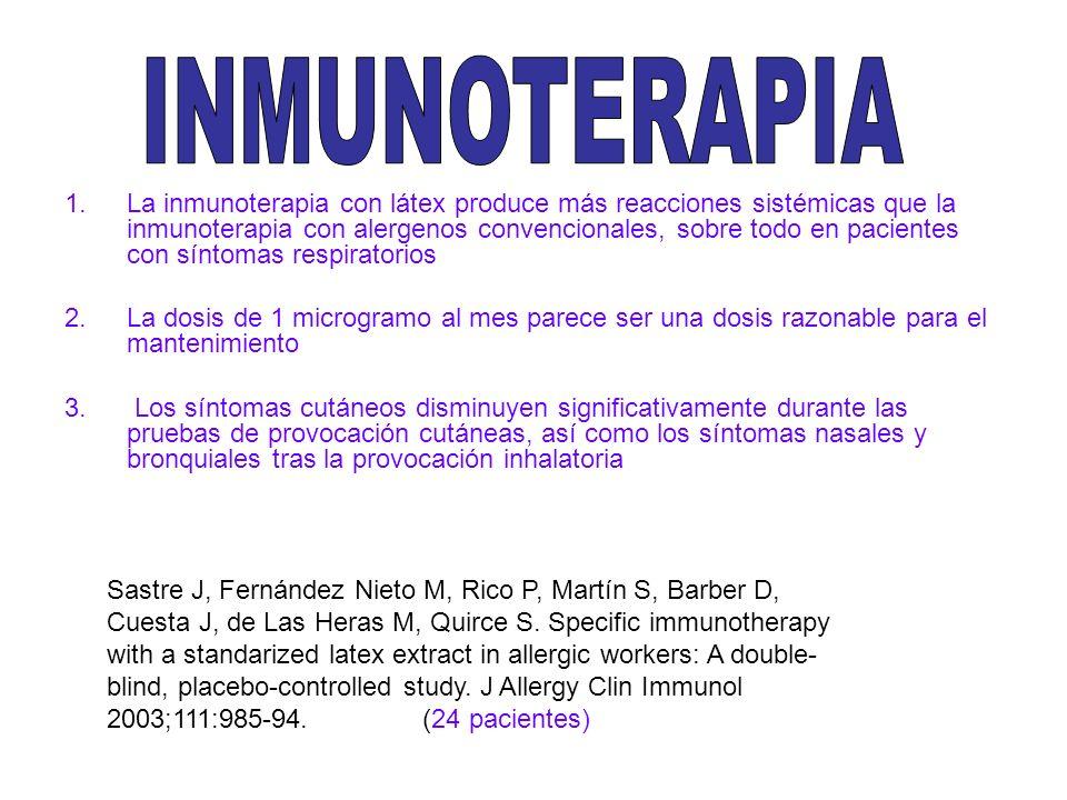 1.La inmunoterapia con látex produce más reacciones sistémicas que la inmunoterapia con alergenos convencionales, sobre todo en pacientes con síntomas