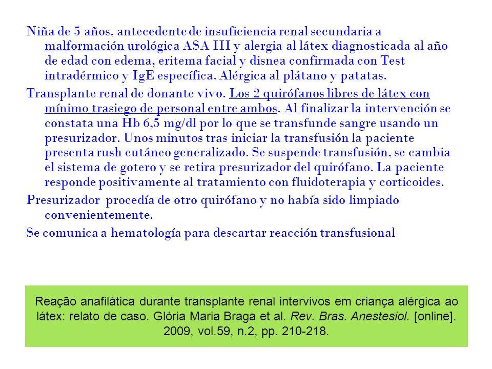 Reação anafilática durante transplante renal intervivos em criança alérgica ao látex: relato de caso. Glória Maria Braga et al. Rev. Bras. Anestesiol.