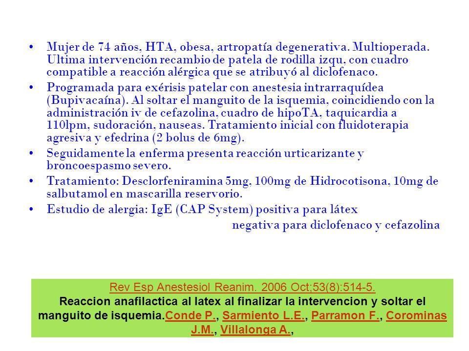 Rev Esp Anestesiol Reanim. 2006 Oct;53(8):514-5. Rev Esp Anestesiol Reanim. 2006 Oct;53(8):514-5. Reaccion anafilactica al latex al finalizar la inter