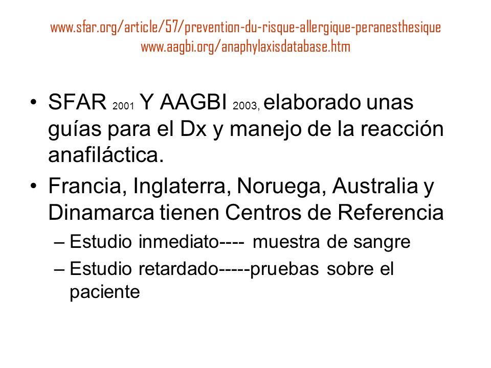 www.sfar.org/article/57/prevention-du-risque-allergique-peranesthesique www.aagbi.org/anaphylaxisdatabase.htm SFAR 2001 Y AAGBI 2003, elaborado unas g