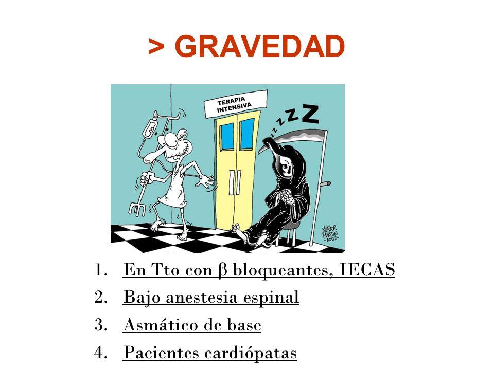 > GRAVEDAD 1.En Tto con β bloqueantes, IECAS 2.Bajo anestesia espinal 3.Asmático de base 4.Pacientes cardiópatas