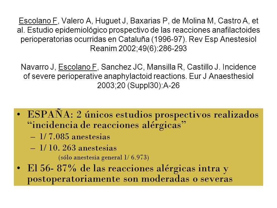 Escolano F, Valero A, Huguet J, Baxarias P, de Molina M, Castro A, et al. Estudio epidemiológico prospectivo de las reacciones anafilactoides perioper