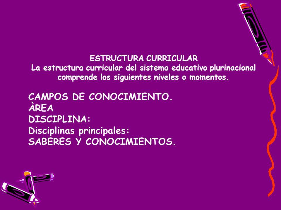 ESTRUCTURA CURRICULAR La estructura curricular del sistema educativo plurinacional comprende los siguientes niveles o momentos.