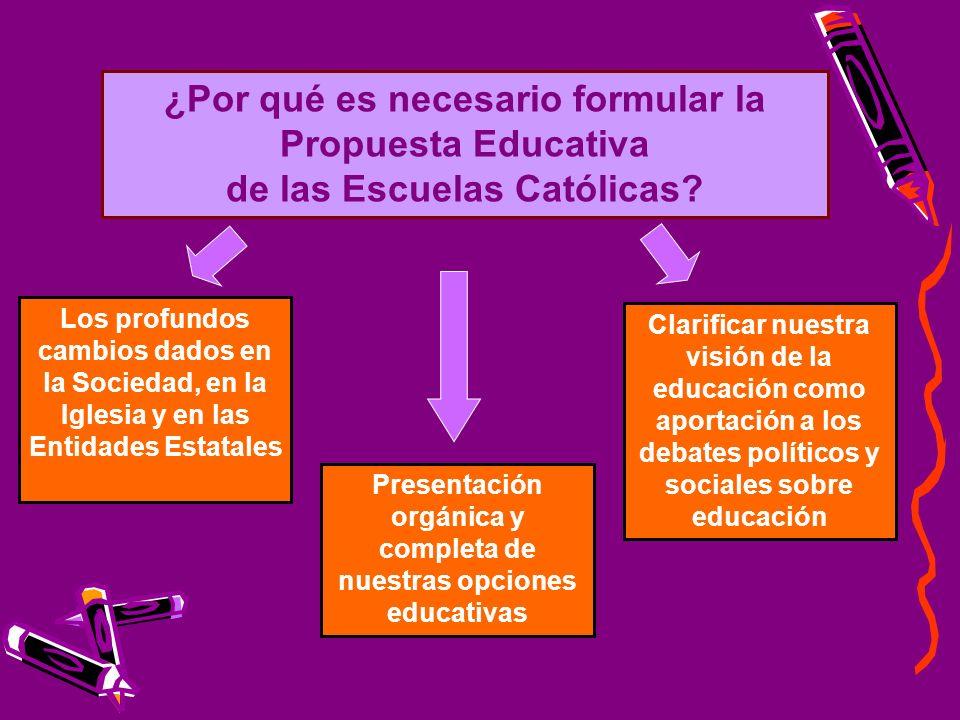 ¿Por qué es necesario formular la Propuesta Educativa de las Escuelas Católicas.