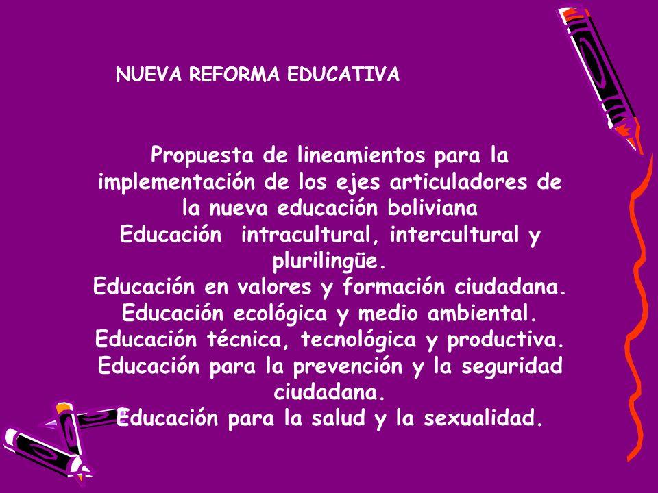 Propuesta de lineamientos para la implementación de los ejes articuladores de la nueva educación boliviana Educación intracultural, intercultural y plurilingüe.