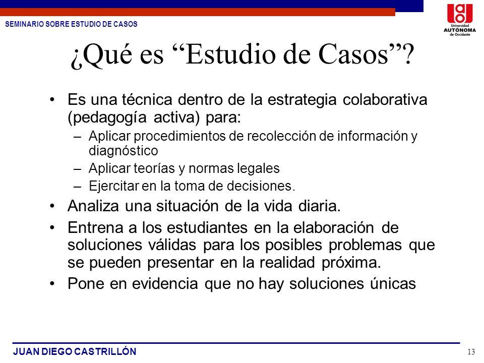 SEMINARIO SOBRE ESTUDIO DE CASOS JUAN DIEGO CASTRILLÓN 13 ¿Qué es Estudio de Casos? Es una técnica dentro de la estrategia colaborativa (pedagogía act
