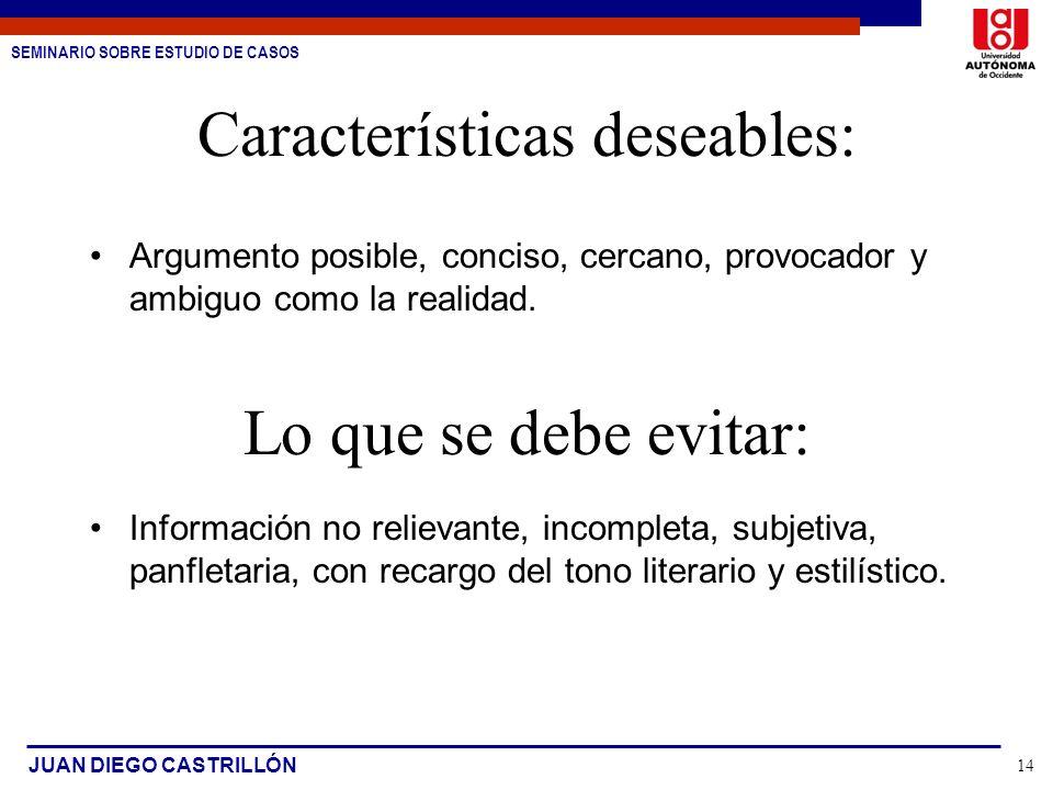 SEMINARIO SOBRE ESTUDIO DE CASOS JUAN DIEGO CASTRILLÓN 14 Características deseables: Argumento posible, conciso, cercano, provocador y ambiguo como la