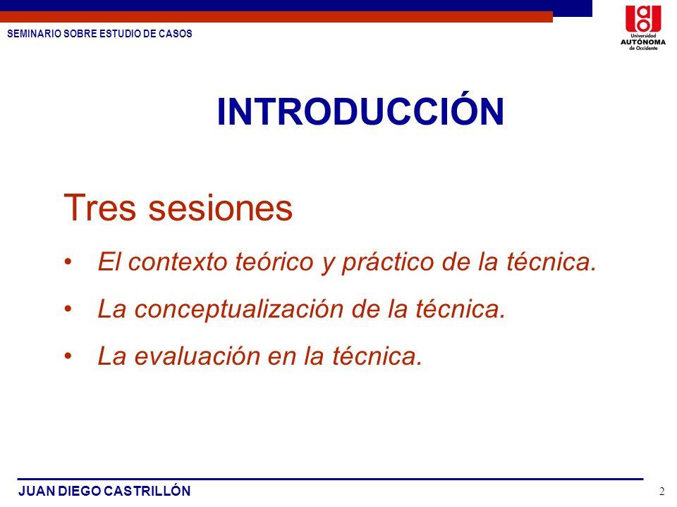 SEMINARIO SOBRE ESTUDIO DE CASOS JUAN DIEGO CASTRILLÓN 2 INTRODUCCIÓN Tres sesiones El contexto teórico y práctico de la técnica. La conceptualización