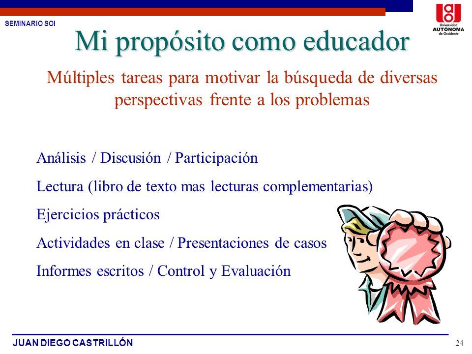 SEMINARIO SOBRE ESTUDIO DE CASOS JUAN DIEGO CASTRILLÓN 24 Mi propósito como educador Múltiples tareas para motivar la búsqueda de diversas perspectiva