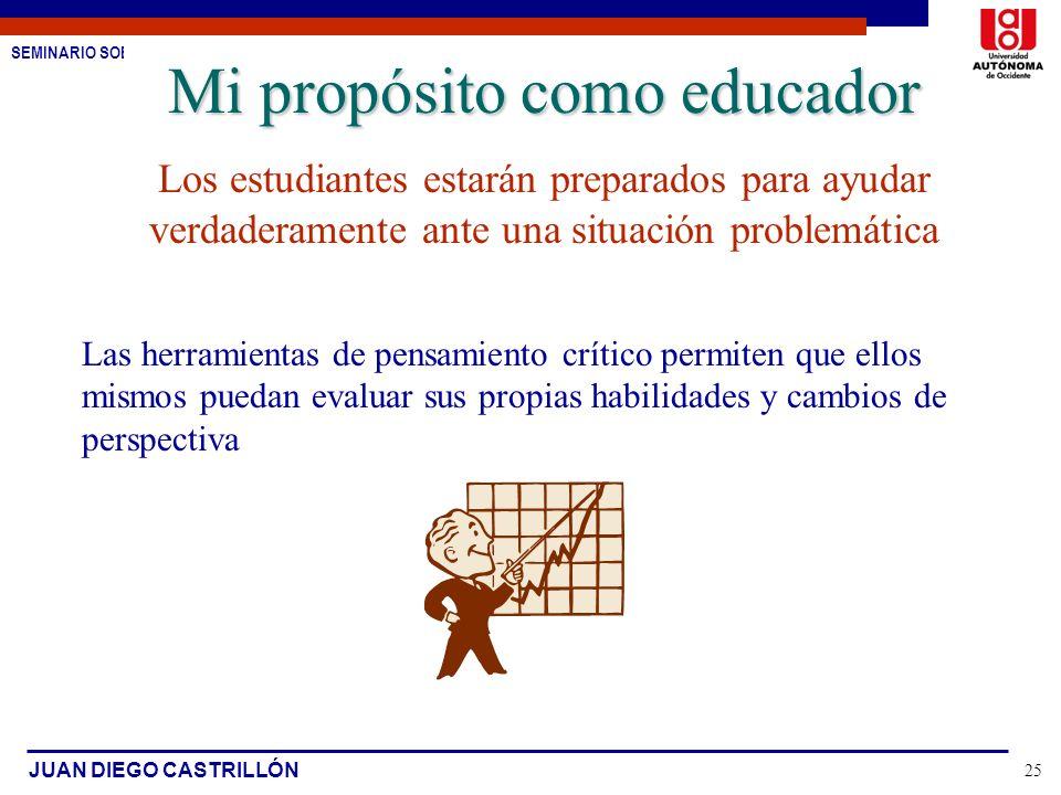 SEMINARIO SOBRE ESTUDIO DE CASOS JUAN DIEGO CASTRILLÓN 25 Mi propósito como educador Los estudiantes estarán preparados para ayudar verdaderamente ant