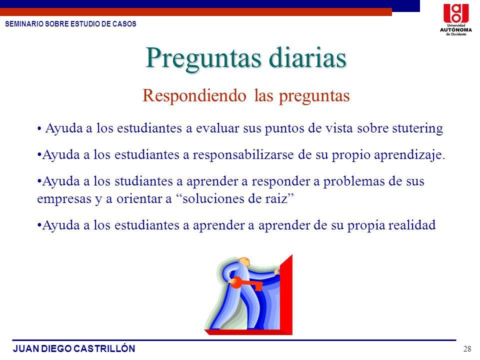 SEMINARIO SOBRE ESTUDIO DE CASOS JUAN DIEGO CASTRILLÓN 28 Respondiendo las preguntas Ayuda a los estudiantes a evaluar sus puntos de vista sobre stute
