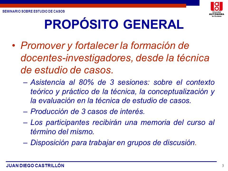SEMINARIO SOBRE ESTUDIO DE CASOS JUAN DIEGO CASTRILLÓN 3 PROPÓSITO GENERAL Promover y fortalecer la formación de docentes-investigadores, desde la téc
