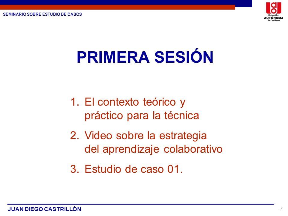 SEMINARIO SOBRE ESTUDIO DE CASOS JUAN DIEGO CASTRILLÓN 4 PRIMERA SESIÓN 1.El contexto teórico y práctico para la técnica 2.Video sobre la estrategia d