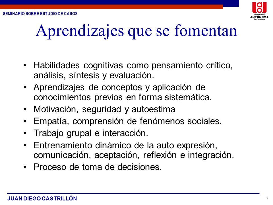 SEMINARIO SOBRE ESTUDIO DE CASOS JUAN DIEGO CASTRILLÓN 7 Aprendizajes que se fomentan Habilidades cognitivas como pensamiento crítico, análisis, sínte