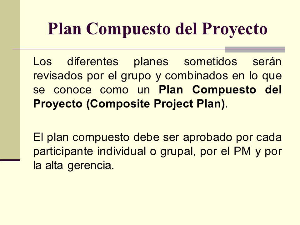 Plan Compuesto del Proyecto Los diferentes planes sometidos serán revisados por el grupo y combinados en lo que se conoce como un Plan Compuesto del P