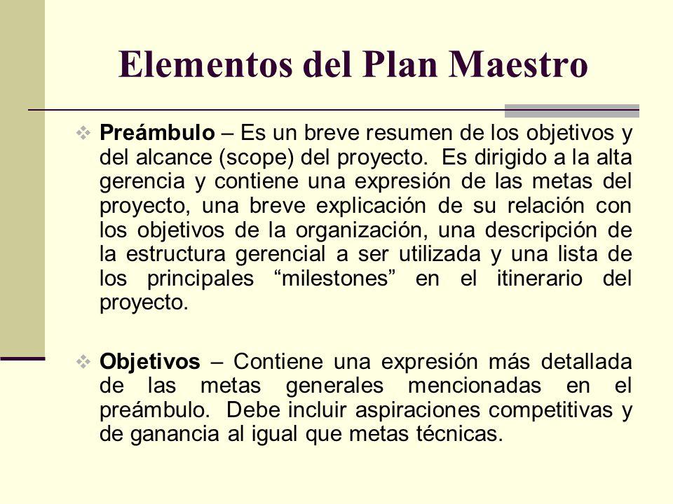 Elementos del Plan Maestro Preámbulo – Es un breve resumen de los objetivos y del alcance (scope) del proyecto. Es dirigido a la alta gerencia y conti