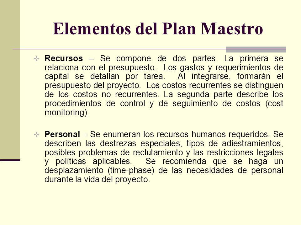 Elementos del Plan Maestro Recursos – Se compone de dos partes. La primera se relaciona con el presupuesto. Los gastos y requerimientos de capital se
