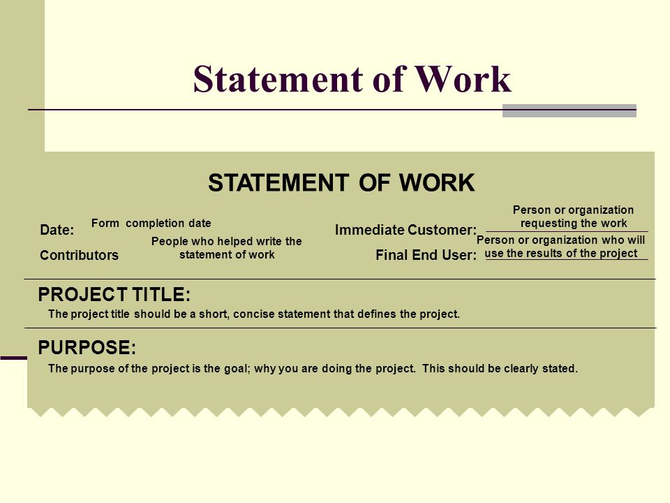 Statement of Work STATEMENT OF WORK Date:Immediate Customer: Contributors: Final End User: PROJECT TITLE: PURPOSE: The purpose of the project is the g