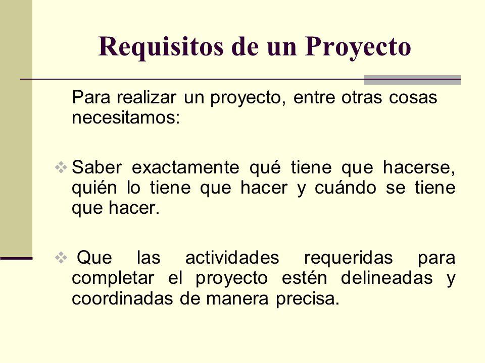 Requisitos de un Proyecto Para realizar un proyecto, entre otras cosas necesitamos: Saber exactamente qué tiene que hacerse, quién lo tiene que hacer