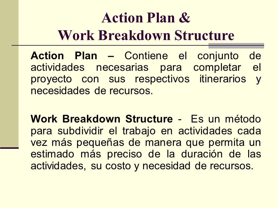 Action Plan & Work Breakdown Structure Action Plan – Contiene el conjunto de actividades necesarias para completar el proyecto con sus respectivos iti