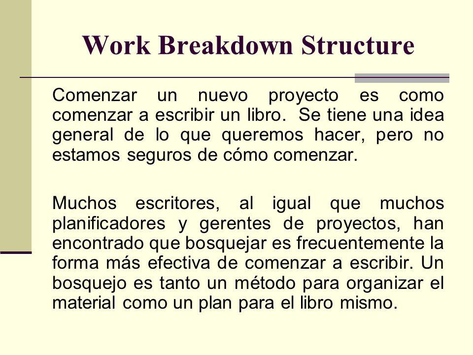 Work Breakdown Structure Comenzar un nuevo proyecto es como comenzar a escribir un libro. Se tiene una idea general de lo que queremos hacer, pero no
