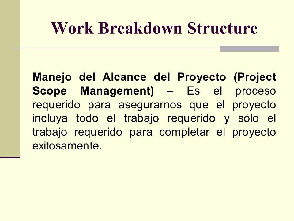 Work Breakdown Structure Manejo del Alcance del Proyecto (Project Scope Management) – Es el proceso requerido para asegurarnos que el proyecto incluya