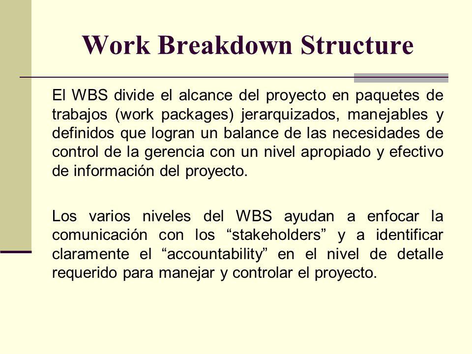 Work Breakdown Structure El WBS divide el alcance del proyecto en paquetes de trabajos (work packages) jerarquizados, manejables y definidos que logra
