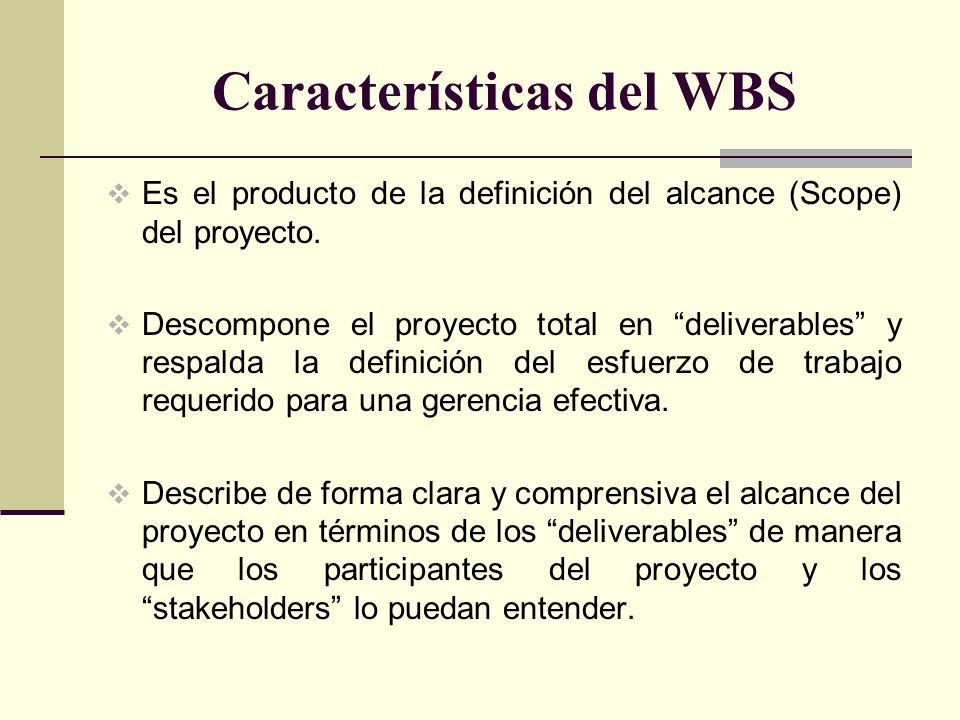 Características del WBS Es el producto de la definición del alcance (Scope) del proyecto. Descompone el proyecto total en deliverables y respalda la d