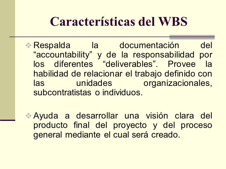 Características del WBS Respalda la documentación del accountability y de la responsabilidad por los diferentes deliverables. Provee la habilidad de r