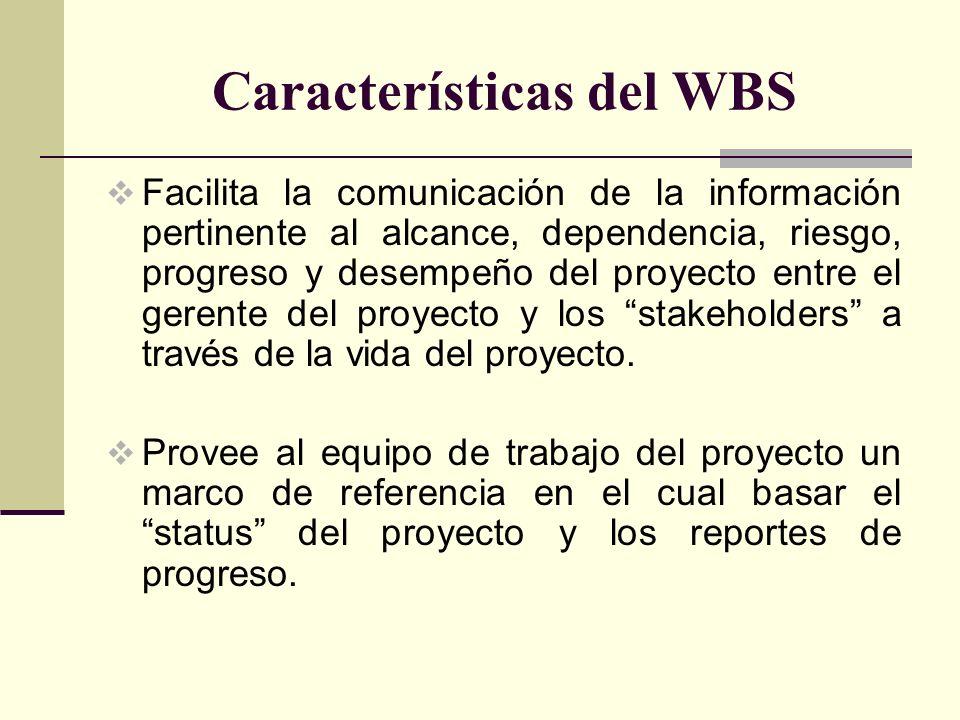 Características del WBS Facilita la comunicación de la información pertinente al alcance, dependencia, riesgo, progreso y desempeño del proyecto entre
