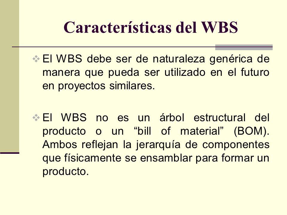 Características del WBS El WBS debe ser de naturaleza genérica de manera que pueda ser utilizado en el futuro en proyectos similares. El WBS no es un