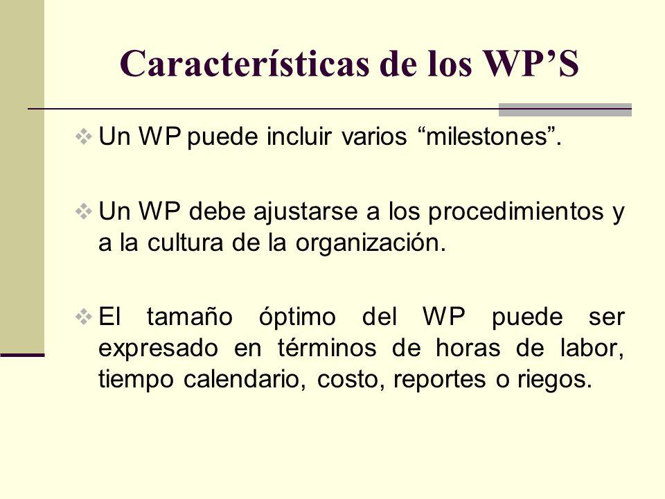 Características de los WPS Un WP puede incluir varios milestones. Un WP debe ajustarse a los procedimientos y a la cultura de la organización. El tama