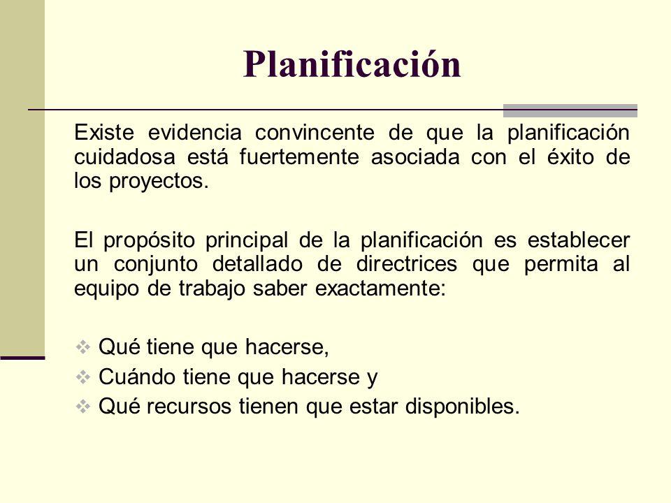Planificación Con relación a los planes podemos añadir que: Deben ser diseñados de manera que los resultados de los proyectos cumplan con los objetivos de la organización.