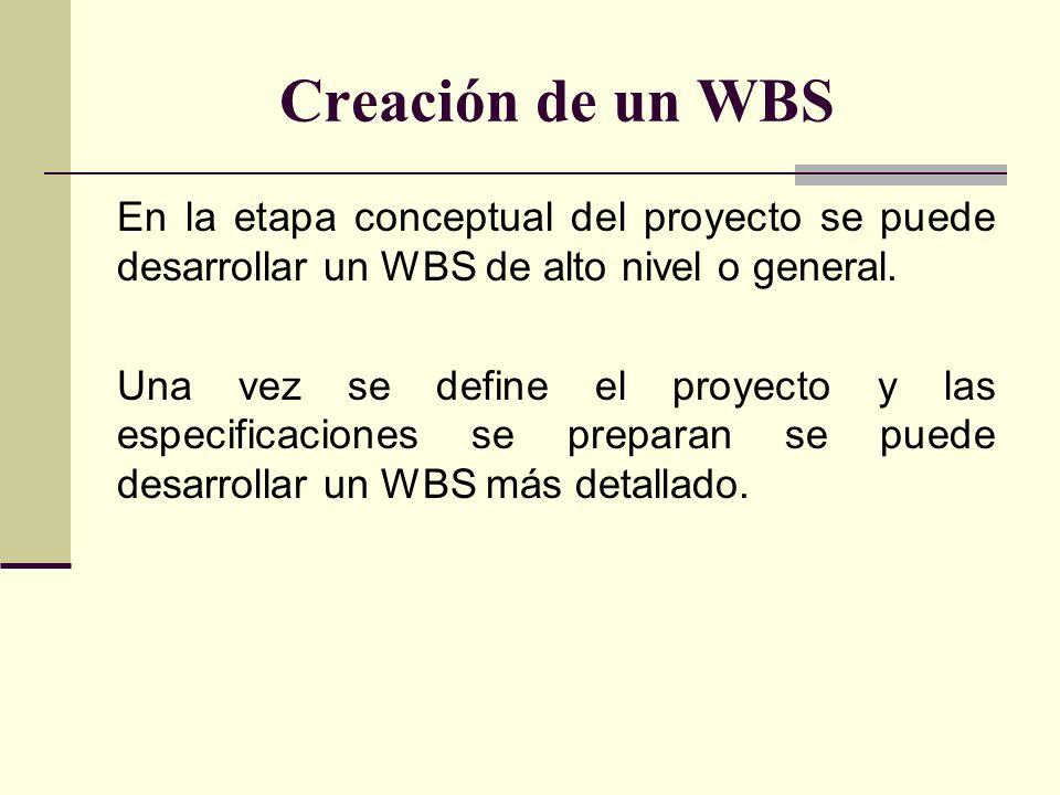 Creación de un WBS En la etapa conceptual del proyecto se puede desarrollar un WBS de alto nivel o general. Una vez se define el proyecto y las especi