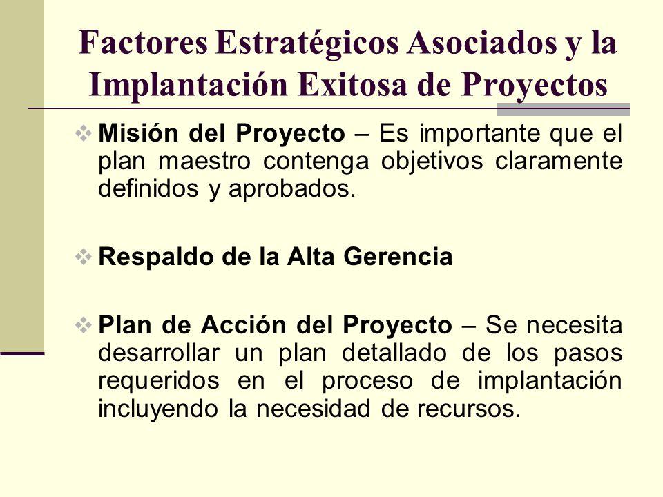 Factores Estratégicos Asociados y la Implantación Exitosa de Proyectos Misión del Proyecto – Es importante que el plan maestro contenga objetivos clar