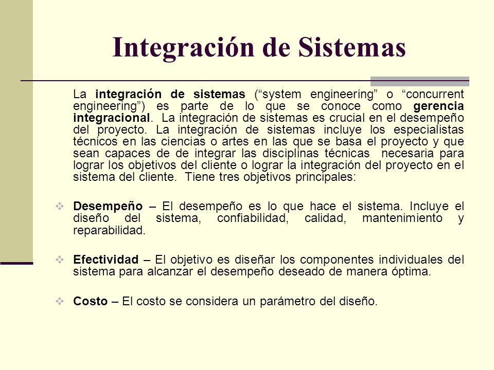 Integración de Sistemas La integración de sistemas (system engineering o concurrent engineering) es parte de lo que se conoce como gerencia integracio