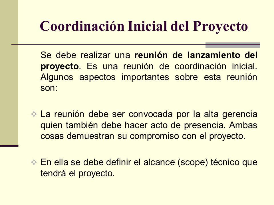 Coordinación Inicial del Proyecto Se debe realizar una reunión de lanzamiento del proyecto. Es una reunión de coordinación inicial. Algunos aspectos i