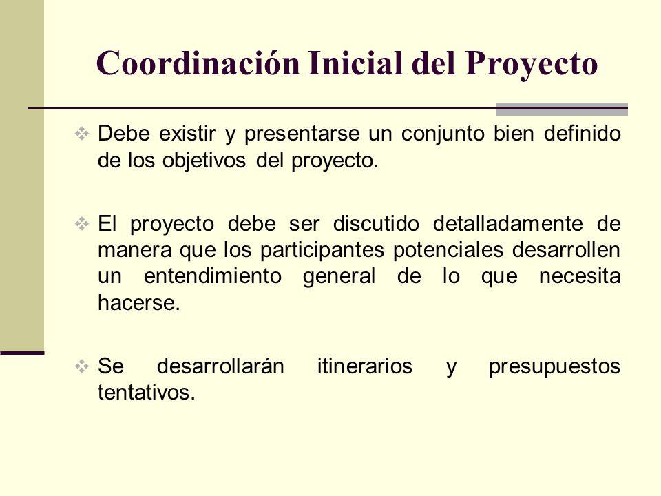 Coordinación Inicial del Proyecto Debe existir y presentarse un conjunto bien definido de los objetivos del proyecto. El proyecto debe ser discutido d