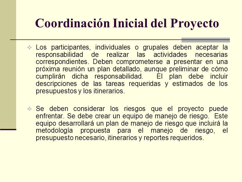 Coordinación Inicial del Proyecto Los participantes, individuales o grupales deben aceptar la responsabilidad de realizar las actividades necesarias c