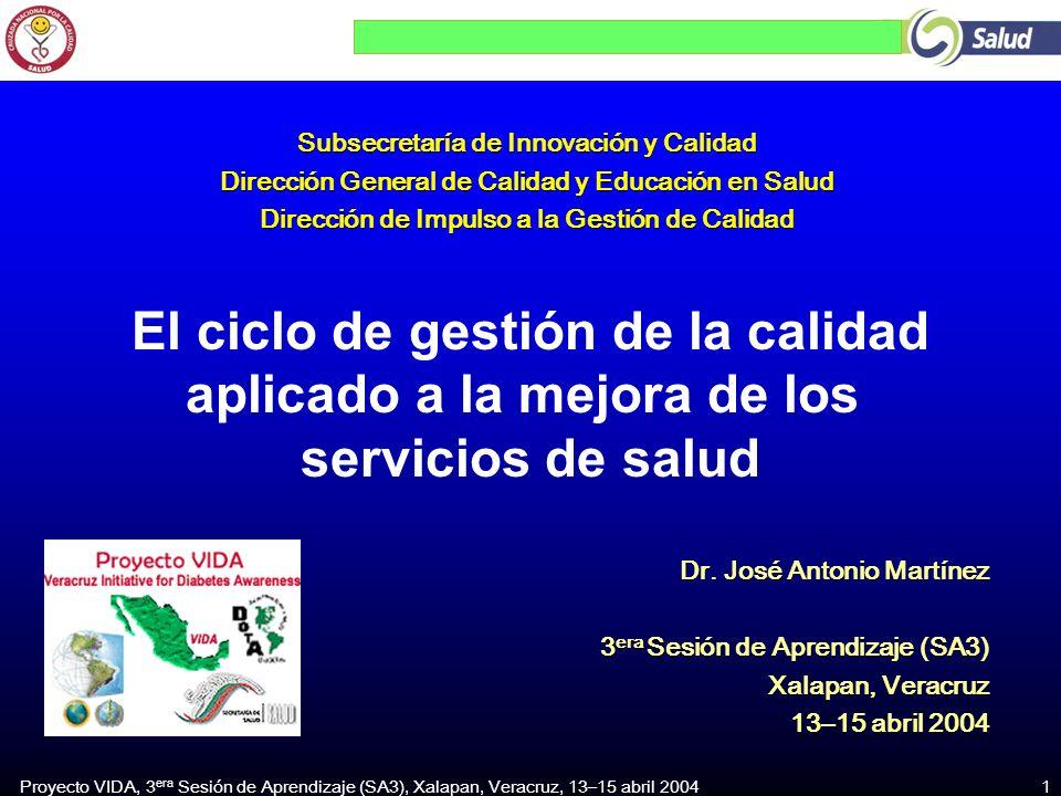 Proyecto VIDA, 3 era Sesión de Aprendizaje (SA3), Xalapan, Veracruz, 13–15 abril 2004 1 El ciclo de gestión de la calidad aplicado a la mejora de los servicios de salud Subsecretaría de Innovación y Calidad Dirección General de Calidad y Educación en Salud Dirección de Impulso a la Gestión de Calidad Dr.