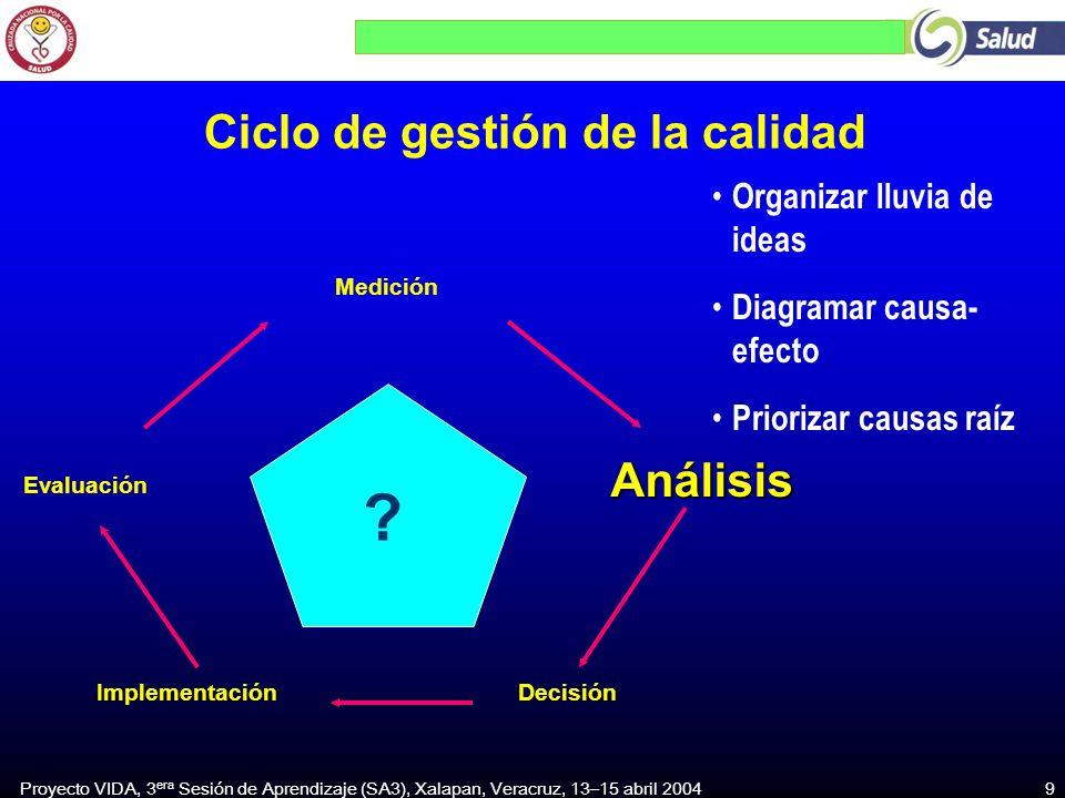 Proyecto VIDA, 3 era Sesión de Aprendizaje (SA3), Xalapan, Veracruz, 13–15 abril 2004 9 DecisiónImplementación Análisis Medición Evaluación .