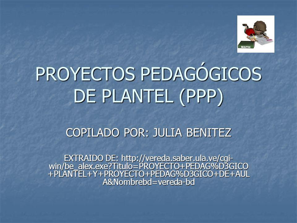 PROYECTOS PEDAGÓGICOS DE PLANTEL (PPP) El Plan de Acción del Ministerio de Educación y la propuesta de reorganización de este Despacho promueven la descentralización y desconcentración de funciones hacia los Estados y Municipios y apoyan la gestión autónoma de los planteles.